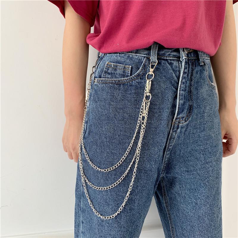 韩国新款ins链条嘻哈潮人风裤子
