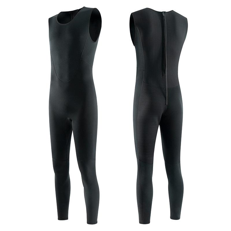 Diving suit mens warm 3mm one-piece wet snorkeling swimming vest jellyfish suit surfing suit diving suit womens pure black