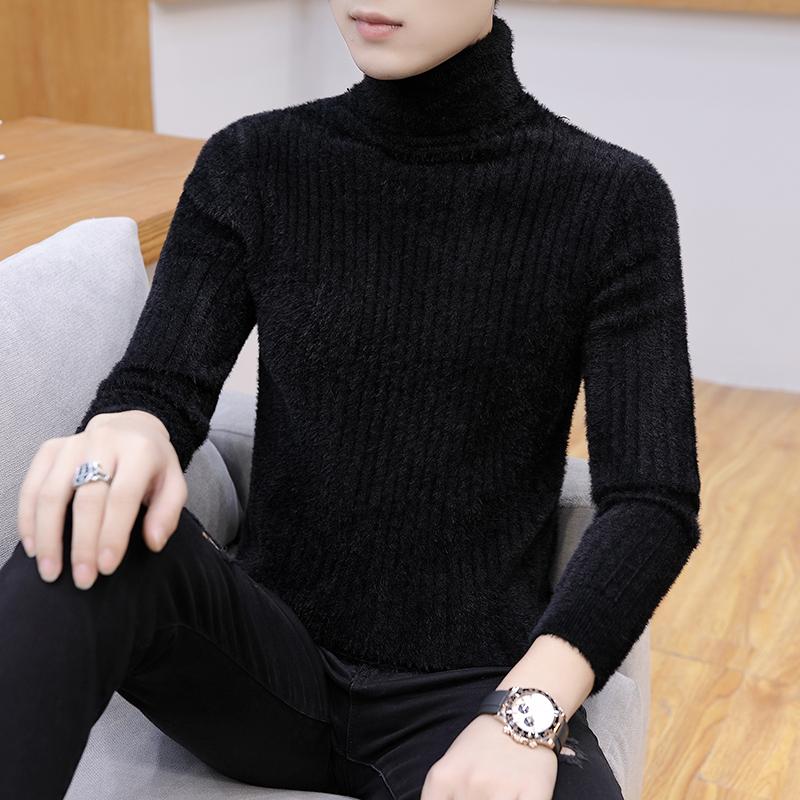 水貂绒高领毛衣男士修身打底衫秋冬季加绒厚款羊毛衫绒衫韩版潮流