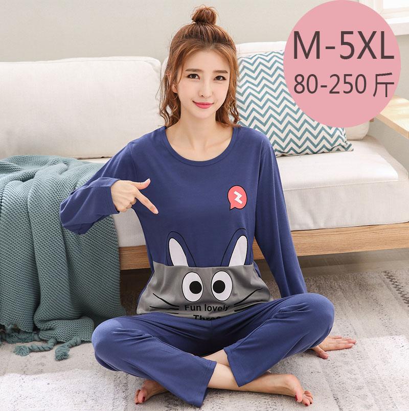 Oversize pajamas womens spring autumn cotton long sleeve Korean loose fat mm plus fat oversize suit 200kg 5XL