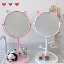 韩风ins猫耳朵台式高清化妆镜子宿舍房间桌面收纳少女公主梳妆镜
