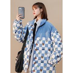 2021冬装新款创意格纹卡通印花手塞棉棉衣 M1574 P115 控138