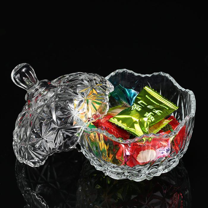 欧式水晶玻璃糖果盅透明钻石糖果罐