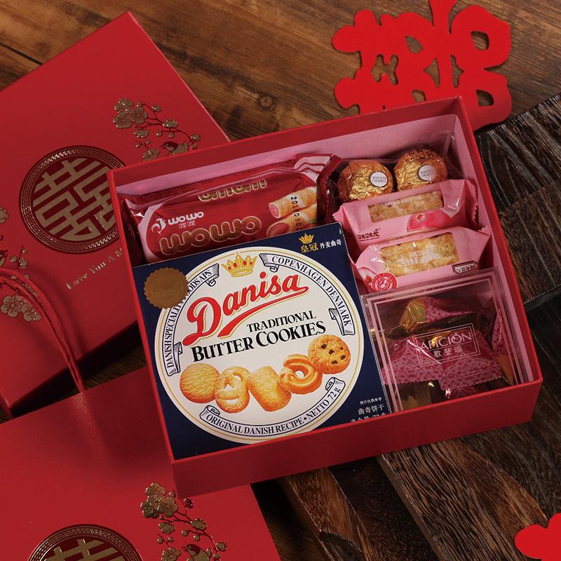 满64.00元可用32元优惠券中国风婚礼喜糖礼盒双喜伴手礼回礼新中式红色结婚糖果礼盒