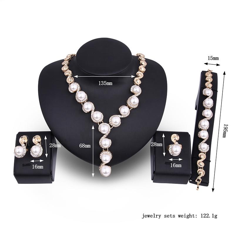 欧美跨境热销时尚精致珍珠项链耳环套装新娘宴会首饰套装流行饰品