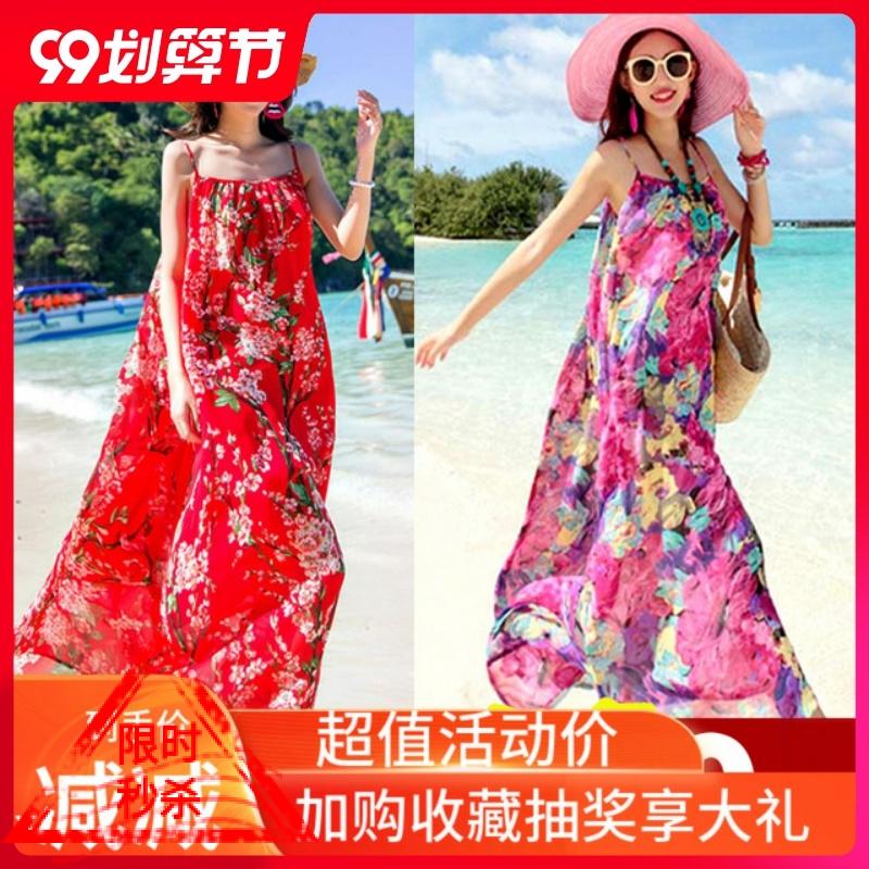 Red seaside holiday beach skirt dress big swing 2020 Chiffon fairy Bohemian floral slim dress