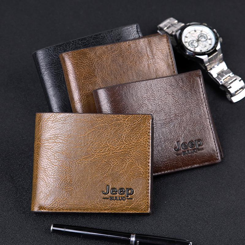 Mens short retro soft wallet suit Korean Japanese two fold thin handbag fashion brand youth multi card clip bag