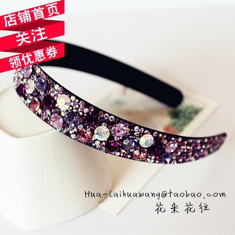 花来花往韩版镶钻水晶细宽边发箍