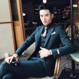 秋季休闲西装男套装韩版商务职业三件套正装新郎结婚修身青年西服