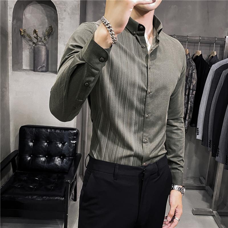 春秋印花衬衫英伦男士条纹长袖帅气