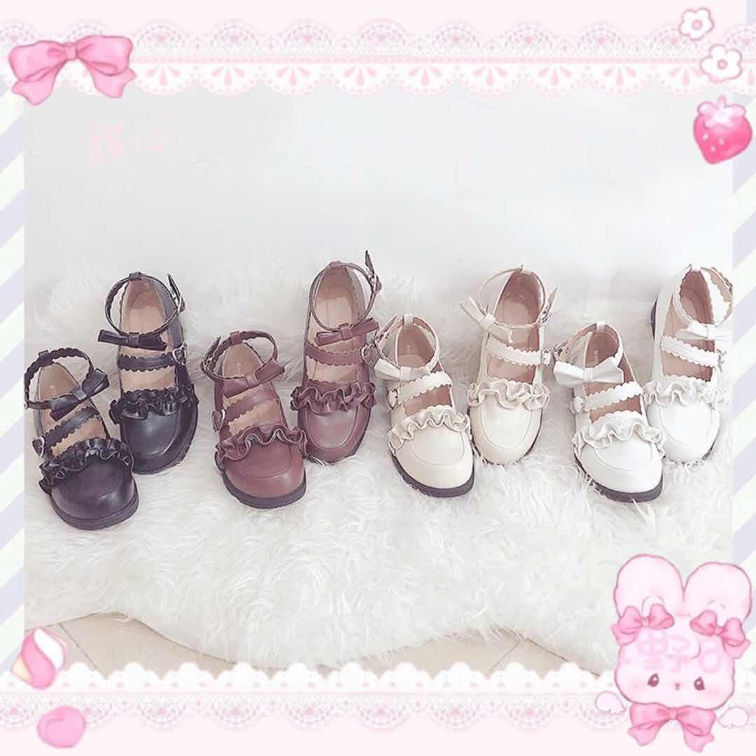 梅露露低跟洛丽塔鞋日系学生圆头lolita蝴蝶结软妹甜美小皮鞋