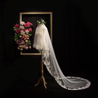Невеста вуаль 2017 новый вуаль свадьба новый корейский выйти замуж продольный мазок принцесса свадьба кружево долго 016