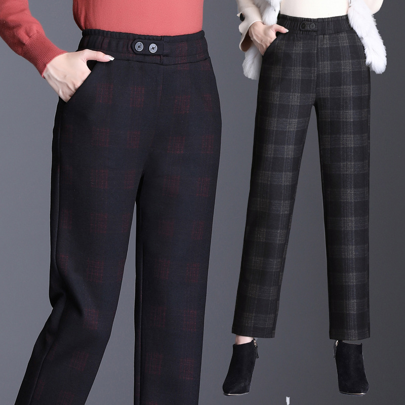 Woollen Harem Pants womens loose size new high waist radish pants in autumn and winter