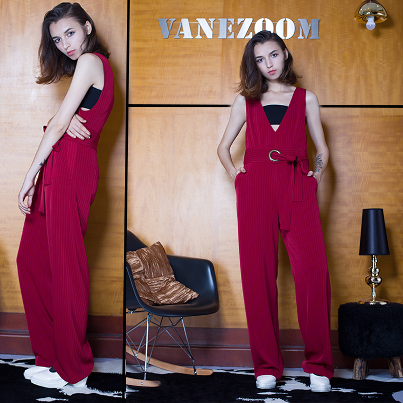 Vanezoom one-piece trousers V-neck strap red vertical stripe suit material Jumpsuit pants tapered drape strap pants