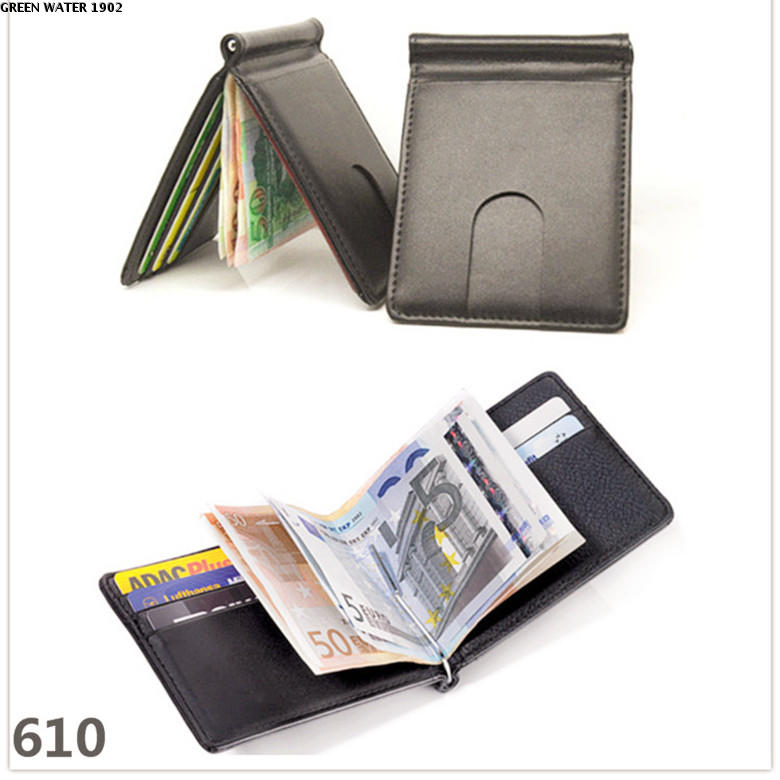 Short horizontal Troika original inner and outer leather wallet cowhide wallet multi card space ultra thin mens business black red