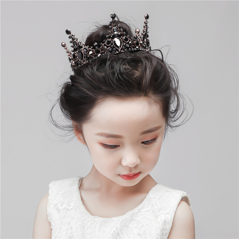 Childrens Crown Princess headdress girls crystal hairband childrens birthday black crown show silver performance hair accessories