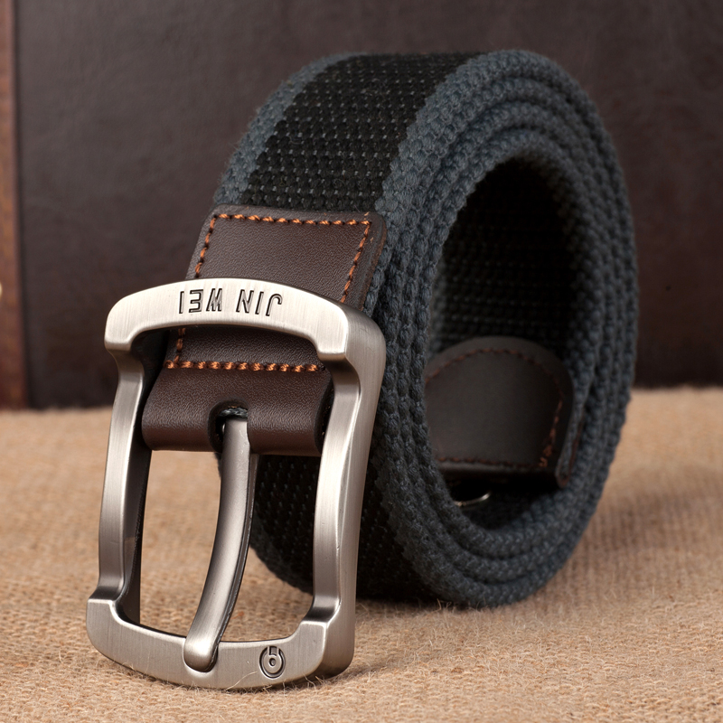 Simple woven canvas belt mens belt casual jeans with Korean youth student pin buckle