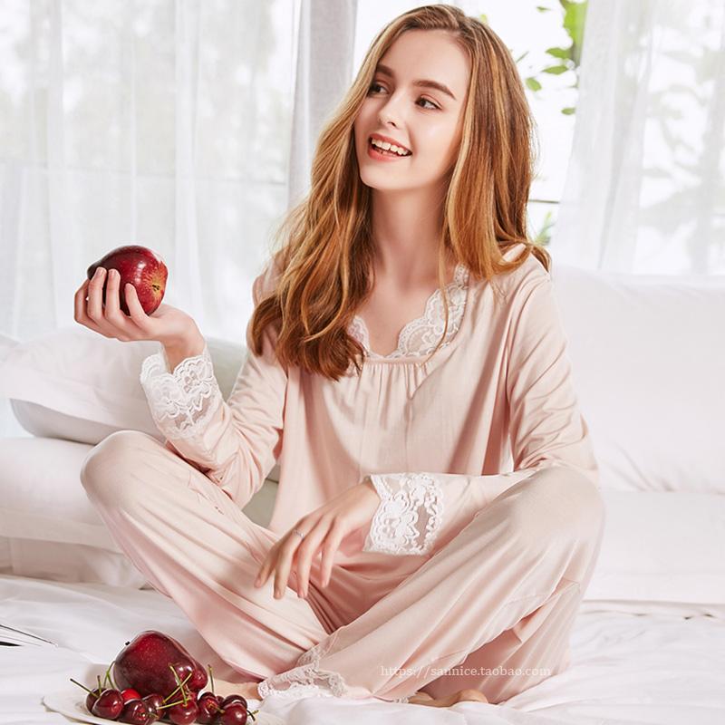 莫代尔睡衣女长袖春秋季薄款冰丝夏季月子春季家居服两件套装