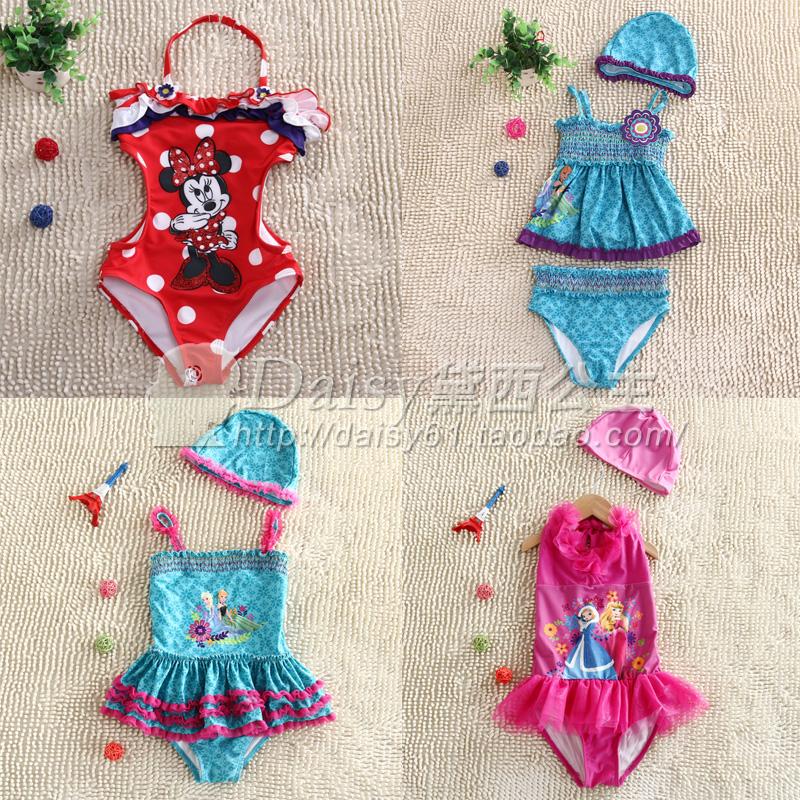迪斯尼泳衣童装女童米妮游泳装中小童冰雪奇缘美人鱼儿童连体泳衣