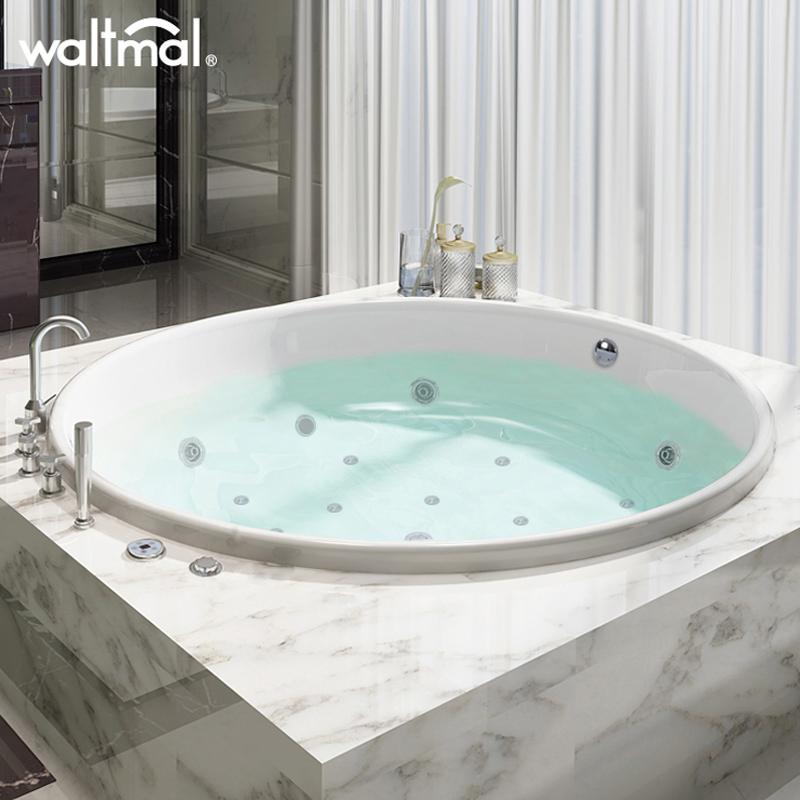 沃特玛 圆形浴缸家用成人双人情侣冲浪按摩亚克力嵌入式浴池恒温