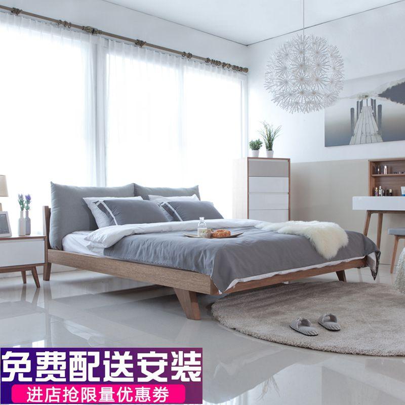 北欧式1.5小户型日式榻榻米简约单人实木床1.8米双人主卧婚床矮床,可领取元淘宝优惠券