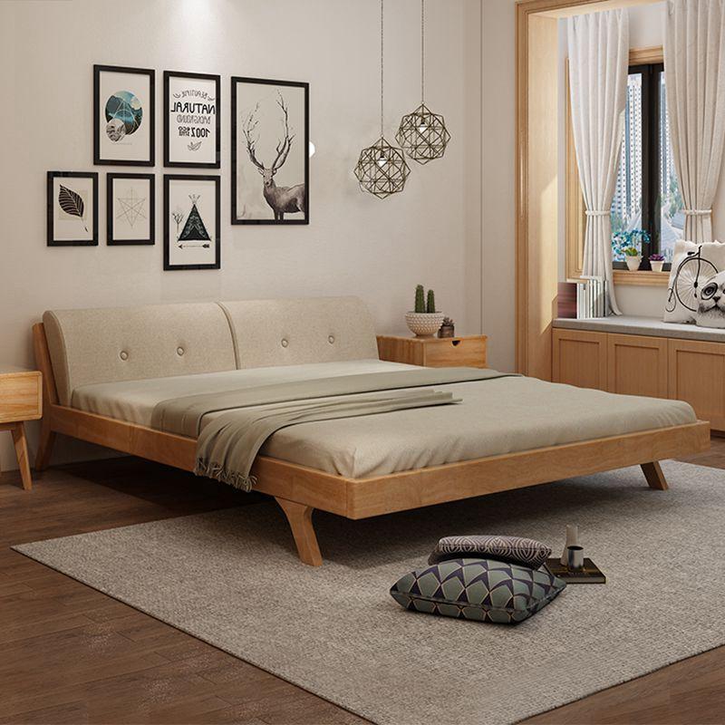 北欧日式原木全实木床简约1.8米1.5m卧室双人床橡木婚床软靠家具,可领取元淘宝优惠券