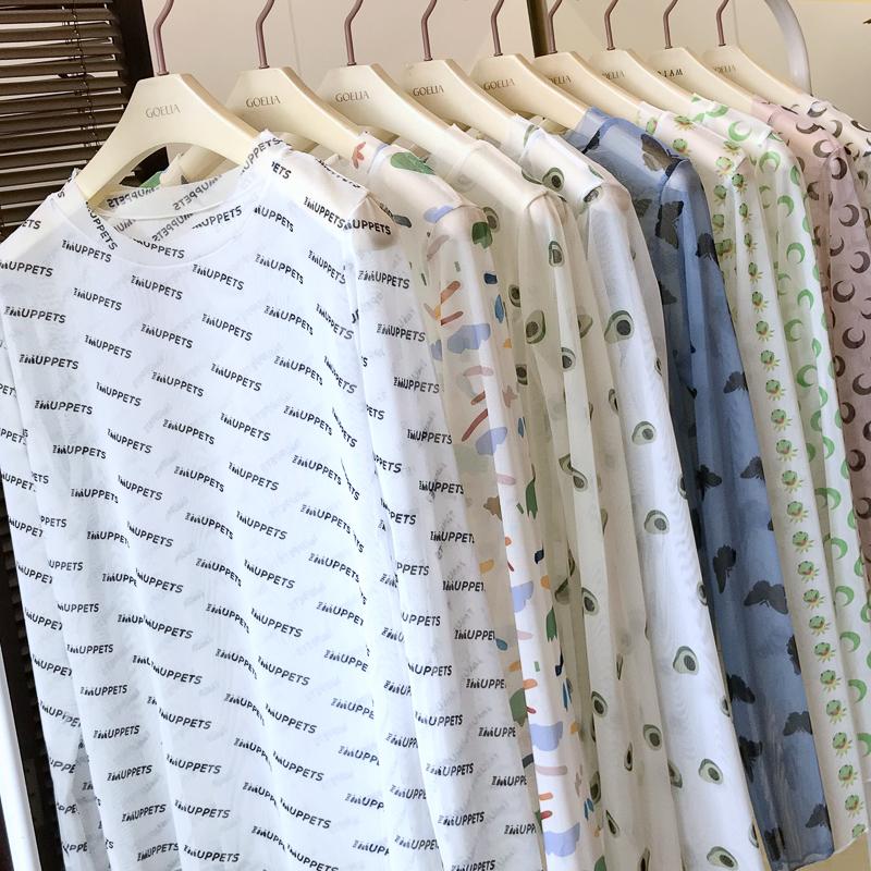 防晒衣冰丝长袖泫雅风同款网纱t恤
