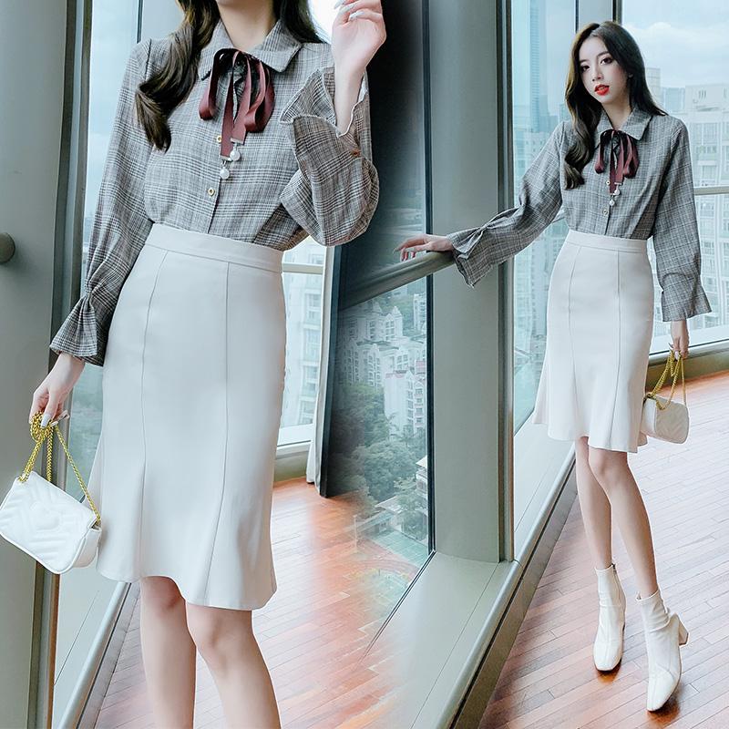 高腰鱼尾裙女秋冬新款半身裙韩版修身中长款裙子荷叶边显瘦包臀裙