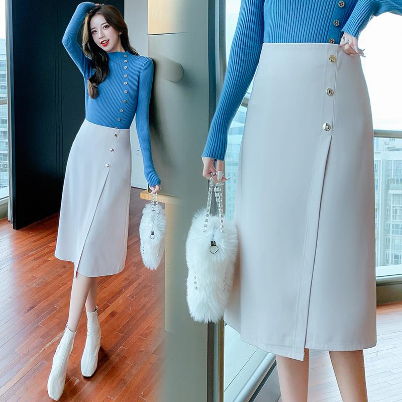 半身裙中长裙子女2021新款秋冬高腰显瘦垂感过膝时尚不规则a字裙