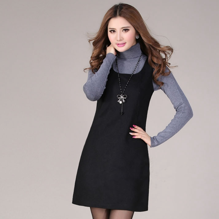 Wool vest skirt womens autumn and winter large size womens dress Korean version light cooked and thin autumn womens sleeveless vest dress