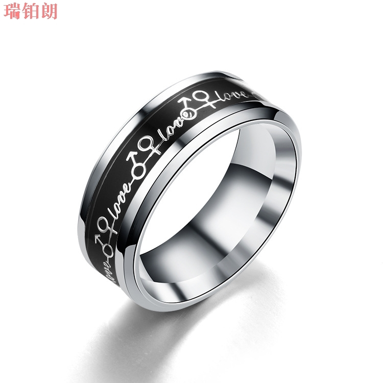 Love letter eternal ring titanium steel ring with micro inlaid glaze for lovers