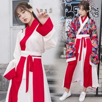 5922红色印花日常魏晋风大袖衫广袖 交领襦裙汉服 女套装 表演服