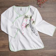8138#实拍 民族风女装 复古风手绘改良汉服 上衣衬衫棉麻中式服装