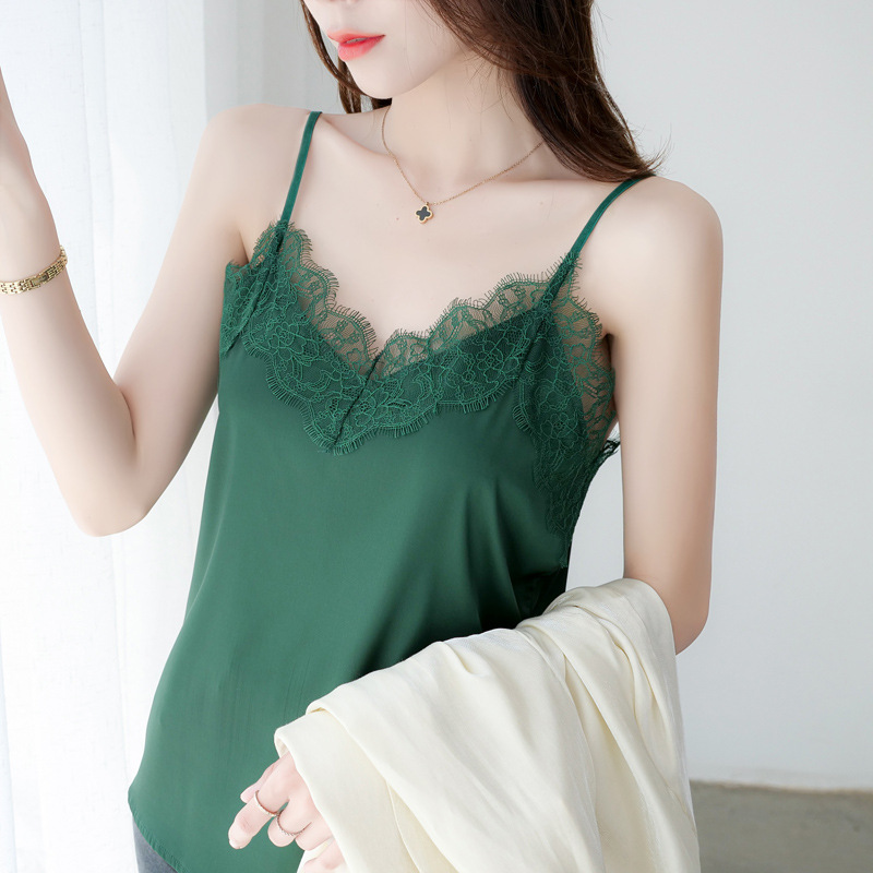 Eyelash lace suspender vest womens summer versatile silk satin suit with top and silk back