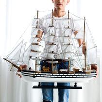 一帆风顺帆船模型摆件仿真大号手工木质客厅玄关办公室北欧装饰品