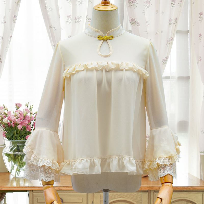 Chinese style Lolita cheongsam with small collar and coil button original Lolita Dress in spring and Autumn