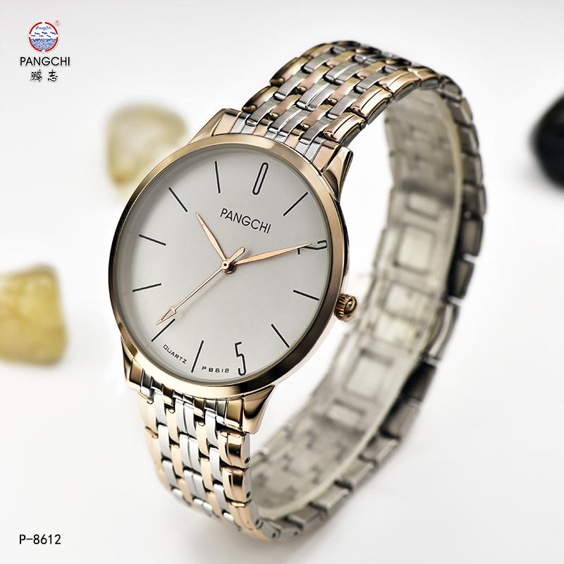 Pengzhi wristwatch mens quartz watch genuine stainless steel waterproof womens watch steel belt lovers watch leisure real belt mens Watch