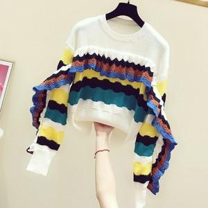 2020秋冬新款韩版彩色条纹荷叶边圆领长袖套头毛衣女休闲针织上衣