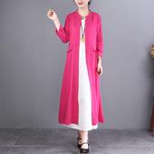 原創設計2020春裝 女式 風衣 新款 文藝棉麻外套寬松中長款 自然小鋪