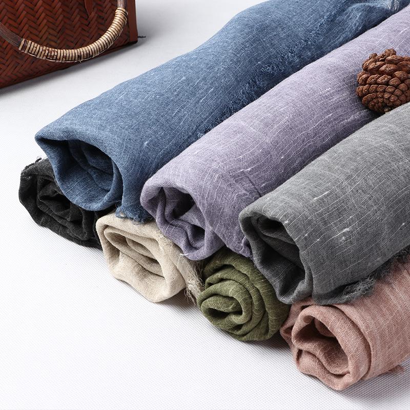 自然小鋪 原創設計亞麻圍巾復古文藝純色大圍巾披肩