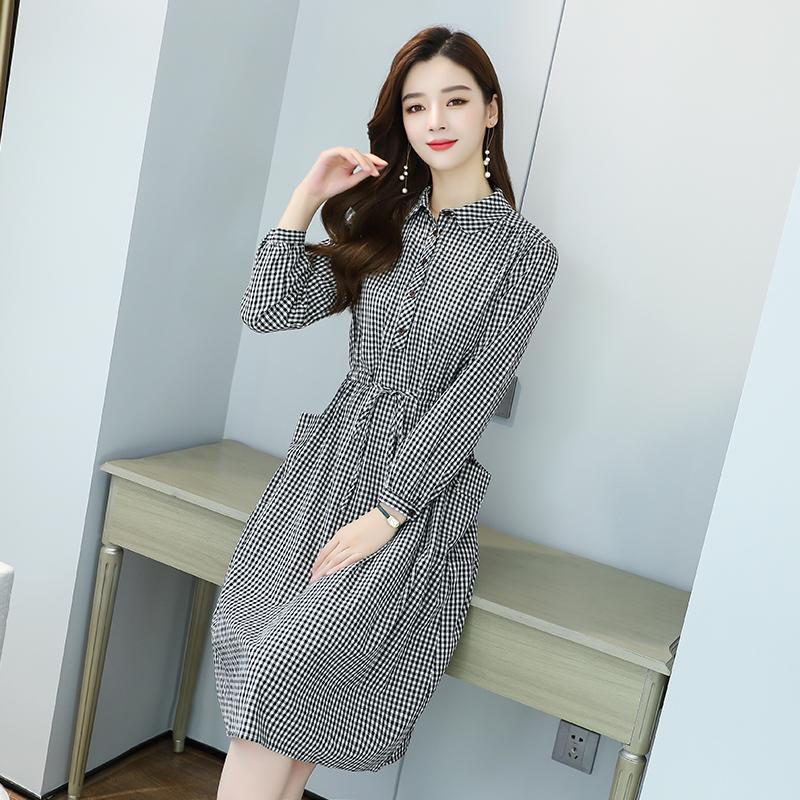 格子连衣裙女长袖秋装新款韩版宽松显瘦休闲中长款a字裙
