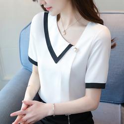 2020夏装新款雪纺衫上衣时尚纯色拼色一字领装饰衬衣小衫