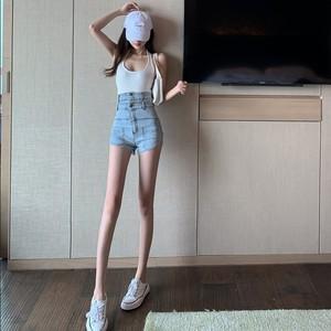 2020夏季新款双层高腰裤子牛仔裤宽松阔腿裤显瘦短裤性格热裤女装