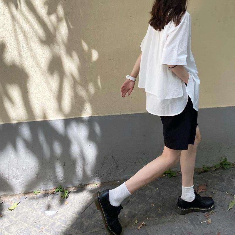 山本耀司衬衫日系学生宽松纯棉短袖衬衣polo领小众设计感白色衬衫