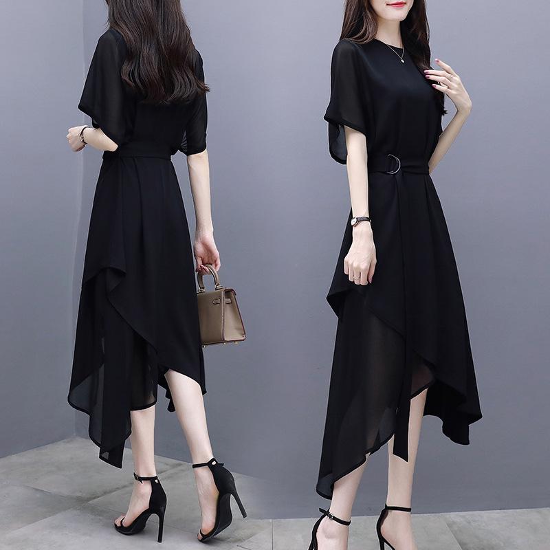 2019 summer womens new slim mid long skirt short sleeve irregular temperament Celebrity Black Chiffon Dress