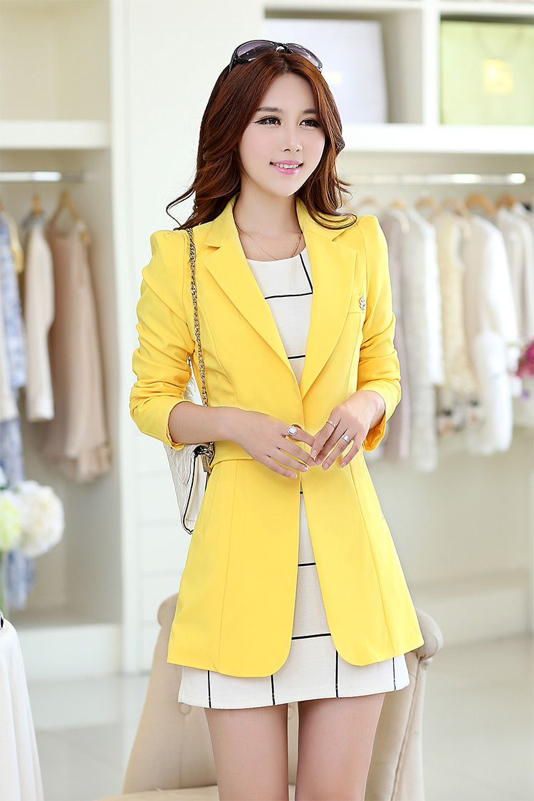 Spring and Autumn New Womens small suit long sleeve coat versatile medium and long size slim fit candy color suit Korean fashion