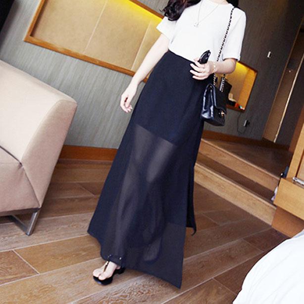 2020韩版春夏高腰黑色半身裙女中长款网纱雪纺一步裙开叉半身裙子