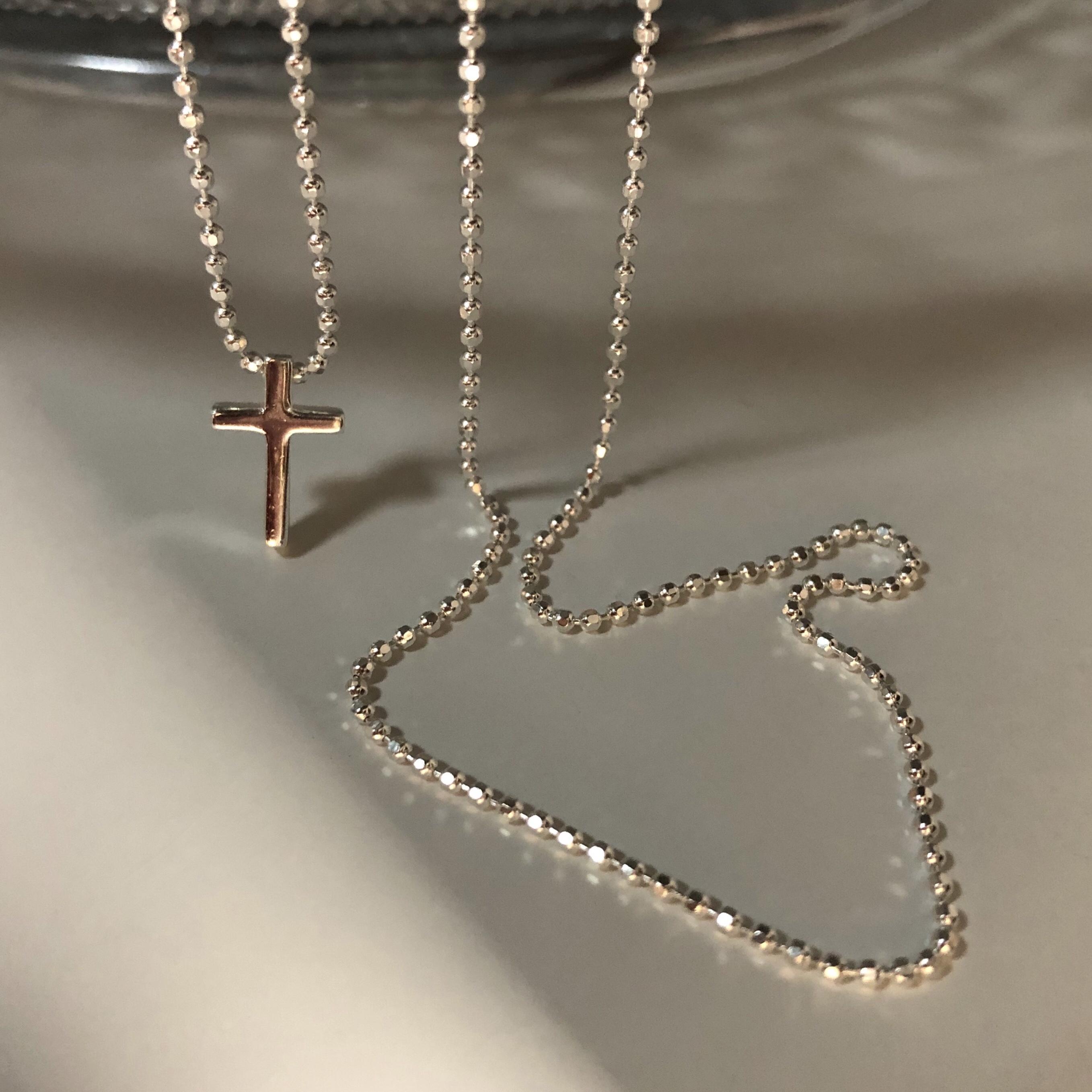 上新85折】白银色~波光粼粼系列 意大利进口闪珠纯银项链十字架控