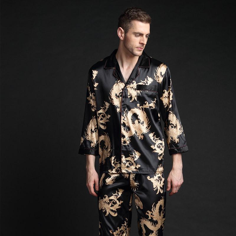 春夏秋季男士龙纹印花图睡衣夏天长袖长裤仿真丝绸冰丝家居服套装