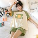 短袖居家睡衣女纯棉薄款韩版学生夏天可爱星星休闲套装家居服夏季